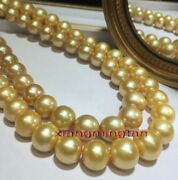 Aaaaa Long 3612-15mm Natural Real Round South Sea Golden Pearl Necklace 14k