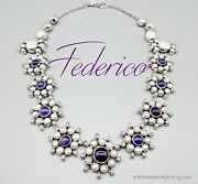 Federico Jimenez -pearl Cluster/amethyst Accents-sterling Cluster Necklace-24