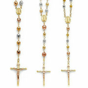 14k Tri Tone Real Gold 26 Rosary Necklace 8mm 6mm 5mm Guadalupe Rosario Oro