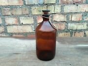Apothecary Amber Brown Bottle Glass Stopper Medicine Military Ussr Vintage