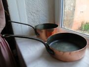 French Antique 2 Copper Pots Iron Handles Copper Rivets Marked Lined