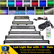13.5-50 Inch Off Road Led Light Bar Combo Rgb Halo Color Change Remote Control