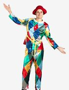 Venetian Mask Harlequin With Hat Costume Made In Venice Italy