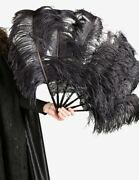 Venetian Mask Charleston Fan With Marabou Feathers Made In Venice Italy