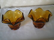 Pair Of Large Heavy Amber Depression Glass Candle Holders - Tulip Scalloped