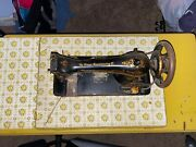 Antique 1874 Singer Sewing Machine G 5051154 In Wood Cabinet Yellow