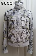 Leather Jacket Perforated Off-white Black Military Bomber Runway Camo Nr S
