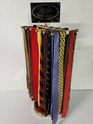 Mid Century Tie Display With 40 Ties Stand Commercial Store Rack Walnut Rotating