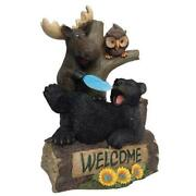 Small Woodland Moose Sleeping Bear Outdoor Decor Welcome Sign Sculpture Statue