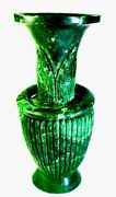 Chinese 14x6 Cms Spinach Green Jade Vase With Suspended Ring