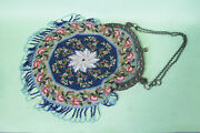Antique Victorian Seed Glass Microbeaded Purse, Exquisite Sterling Silver Frame