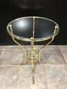 Mid Century Coffee Side Table Gold Brass Colour 2 Tiered Glass 24 Tall X 18.5