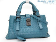 Auth Bottega Veneta Intrecciato Baby Roma 2way Mini Handbag 448954