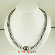 Beauty Unique Silver 925 Bali Beads W/ 16 Mm Black Tahitian Pearl Necklaces Tpj