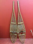 Pair Of Antique Wooden Original Tubbs Norway Maine Snowshoes 59 Long