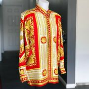 Versace Classic V2 Red Silk Shirt Neo Classical Game Size Iv/l From 1995