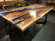 71 X 35 Dining Table Top With Blue Epoxy Unique And Art Design Custom Only
