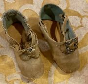 Rare Antique Cloth Shoes For Antique French Or German Bisque Fashion Doll