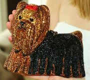 Timmy Woods Yorkie Yorkshire Terrier Dog Purse Clutch Crystals Red Bow