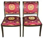 2 Neoclassical French Regency Black And Gold Side Chairs Scalamandre Sleigh Back