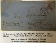 Gb 6p Qv On 1869 Cover To Wasatch Utah Ter Via Union Pacific Rail Road Ex Kramer