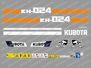 Kubota Kh024 Mini Digger Decal Sticker Set With Safety Warning Signs