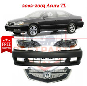 New Front Bumper Cover Kit W/ Grille And Headlights For 2002-2003 Acura Tl
