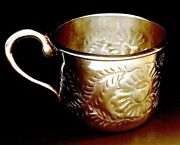 Antique Maciel Repousse Sterling Silver Baby Cup Heavy Handmade 4.3oz.
