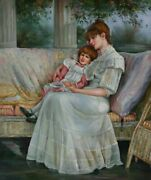 Mother And Daughter 24x20 Oil Painting On Canvas Genuine Hand Painted