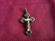 Antique Rare Religious Cross With St. Catherine Laboure On Back - Beautiful