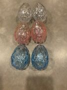Lot Of 6 Large Pastel Plastic Easter Acrylic Eggs Geometic Faceted