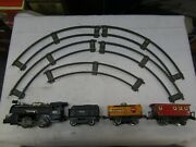 Japanese Tinplate Postwar 4 Pc Model Train Set Battery Operated S Gauge And Track