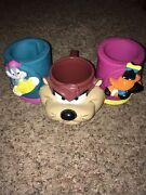 3 Lot Vintage Looney Tunes Taz Mug Bugs Bunny Daffy Duck Cup Holder Collectable