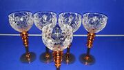 Five Royal Brierley Rock Crystal Hocks Glasses Early 20th Century 1920s