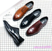 2020 Mens Spring Vintage Oxfords Wing Tips Lace Up Real Leather Dress Shoes Size