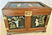 Antique Beautiful Asian Chinese Chinoiseries Jade Wood Lacquer Jewelry Box