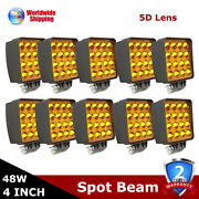 10/20pcs 48w Amber Lamp Led Work Light Spot 5d Boat Tractor Offroad Ute 4wd Car