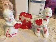 Rosbro Rosen Valentine Girl Boy Plastic Vintage Heart Candy Containers