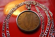 1964 Ireland Rare Penny Bezel Set Pendant On A 28 925 Sterling Silver Chain