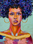 African Woman Portrait Abstract Painting Colorful Ethnic Portrait Art Osnat