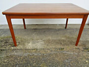 Really Cool Danish Modern Henning Kjaernulf Expandable Teal Dining Table. 1960