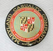 Vintage Maryland Casualty Insurance Advertising Paperweight Celluliod Color T78