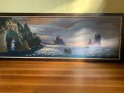 Vintage Oil Painting Two Men Fishing By Carlo Of Hollywood Signed