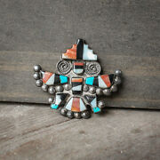 Vintage Zuni Multistone And Sterling Silver Knifewing Pin - Native American