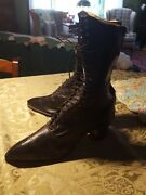 Antique Victorian ◇ Black Leather Lace Up Boots 11.5 Tall ◇ Fabulous Condition