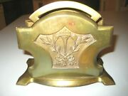 Antique Vintage Real Bronze Letter/napkin Holder No.6767 Torch And Bow Insignia