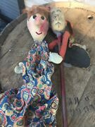 Antique Victorian Punch And Judy Vintage Toy Puppet Theater Doll Wooden Folk Art