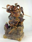 Collect China Color Porcelain Monkey King Sun Wukong Mars Buddha Ornament Statue