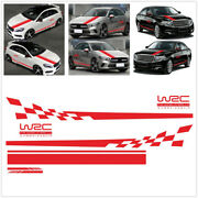 Diy Universal Full Body Car Stickers Kit Red Wrc Checkered Flag Striped Graphics