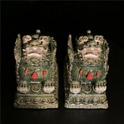 Old China Color Porcelain Animal Kylin Chi-lin Qilin God Beast Coins Statue Pair